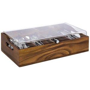 M & T  Bestekbak acacia hout met acryl deksel
