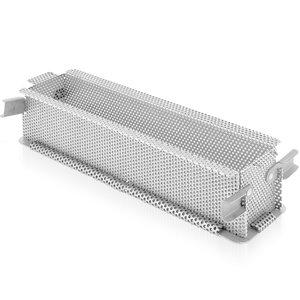 DE BUYER  Paté & Patisserie vorm 48 x 9 x h 8,5 cm geperforeerd roestvrijstaal opvouwbaar model