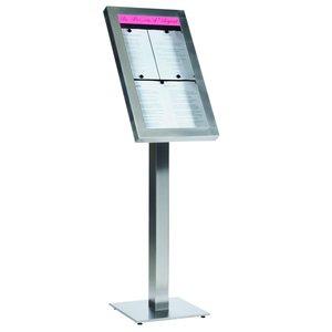 M & T  Menu standaard op voet 4 pagina's din A4 met  LED verlichting