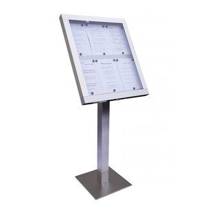 M & T  Menu standaard op voet 6 pagina's din A4 met  LED verlichting