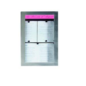 M & T  Menu houder muur model 4 pagina's din A4 met  LED verlichting