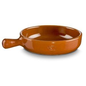 M & T  Steelpan bruin aardewerk diameter 20 cm hoogte 5 cm