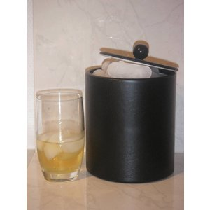 M&T Ice cube bucket black leatherette