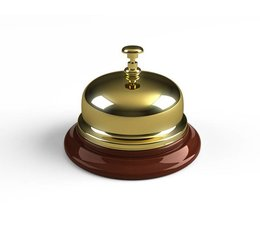 M&T Hotel reception bell brass on wooden base