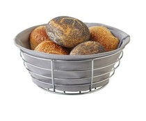 M&T Bread Basket 23 cm chrome with grey cotton inliner
