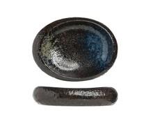 BLACK YORU Serveerschaal ovaal 24x21x5,5cm