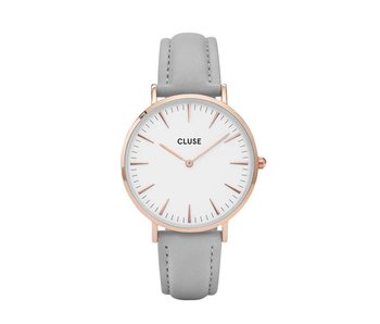 Cluse La Boheme Rose Gold White Grey Horloge