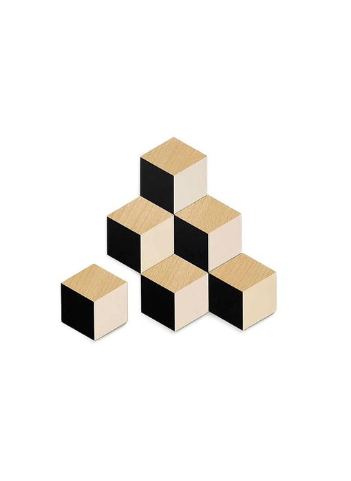 Areaware Table Tiles Black/Beige 6 pcs.