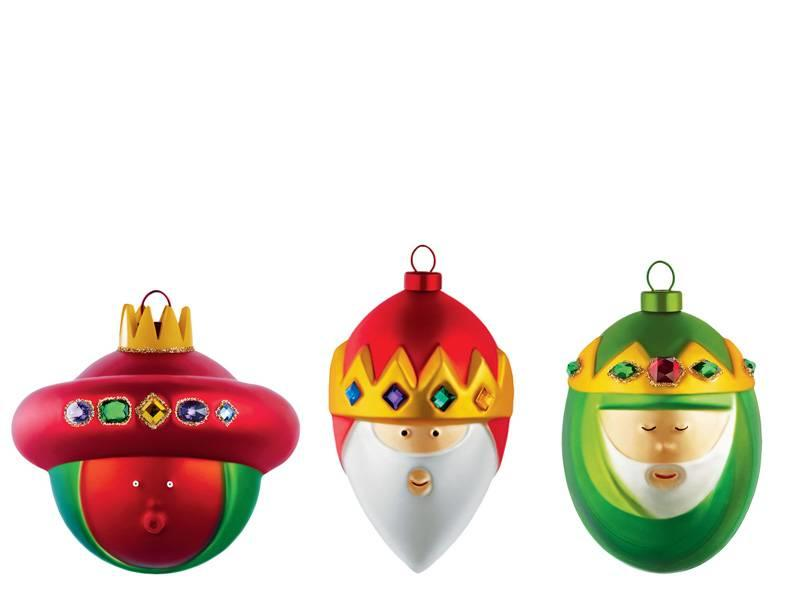 Alessi Set van 3 Kerstballen Gaspare, Melchiorre, Baldassarre