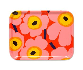 Marimekko Pieni Unikko Plywood Tray Orange/Pink