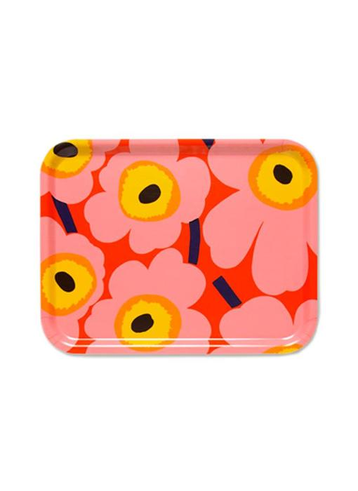 Marimekko Pieni Unikko Plywood Tray Orange/Pink
