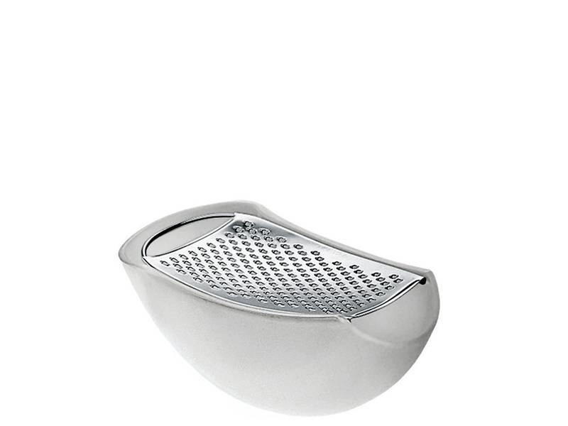 Alessi Parmenide Grater w. Cheese Cellar Ice White