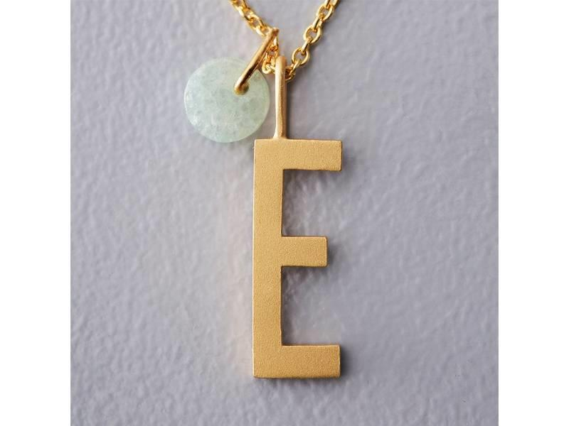 "Design Letters Charm Gold Plated Silver ""U"""