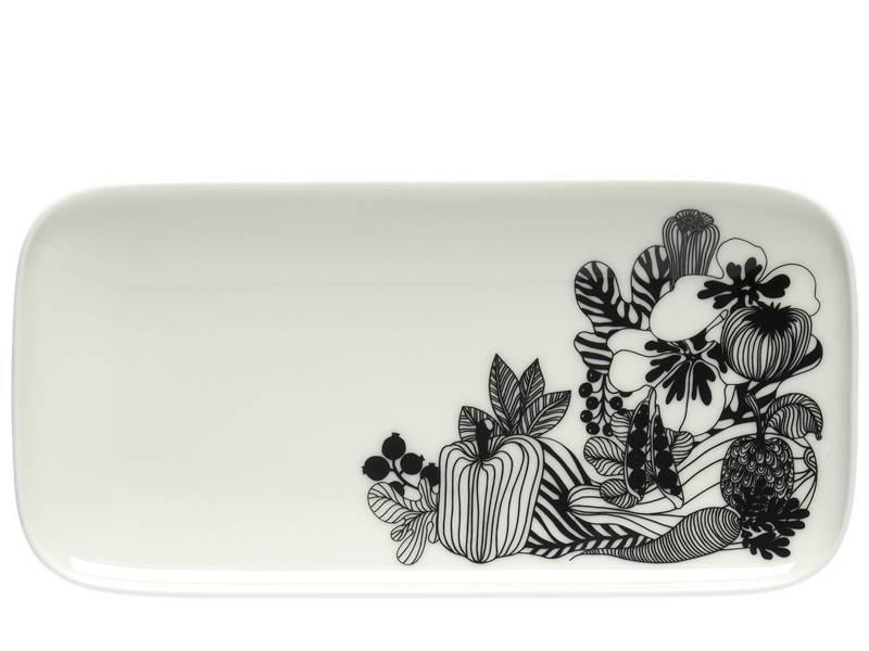Marimekko IGC Oiva Siirtolapuutarha Plate White/Black 12/24,5 cm