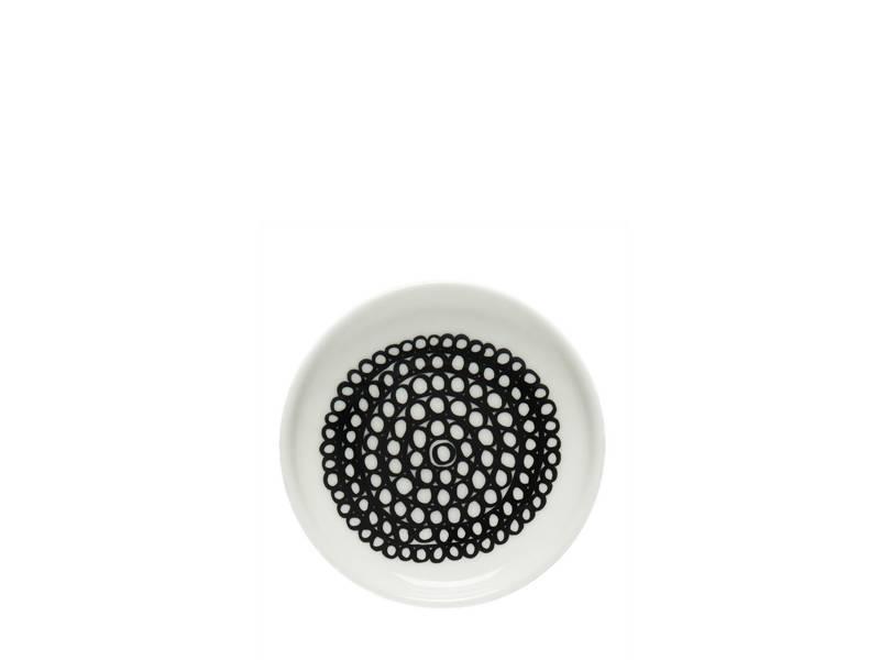 Marimekko IGC Oiva Siirtolapuutarha Plate White/Black 8,5 cm
