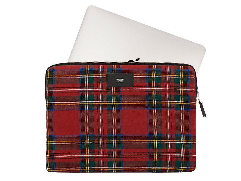 "Wouf Red Tartan Laptop Sleeve 13"""