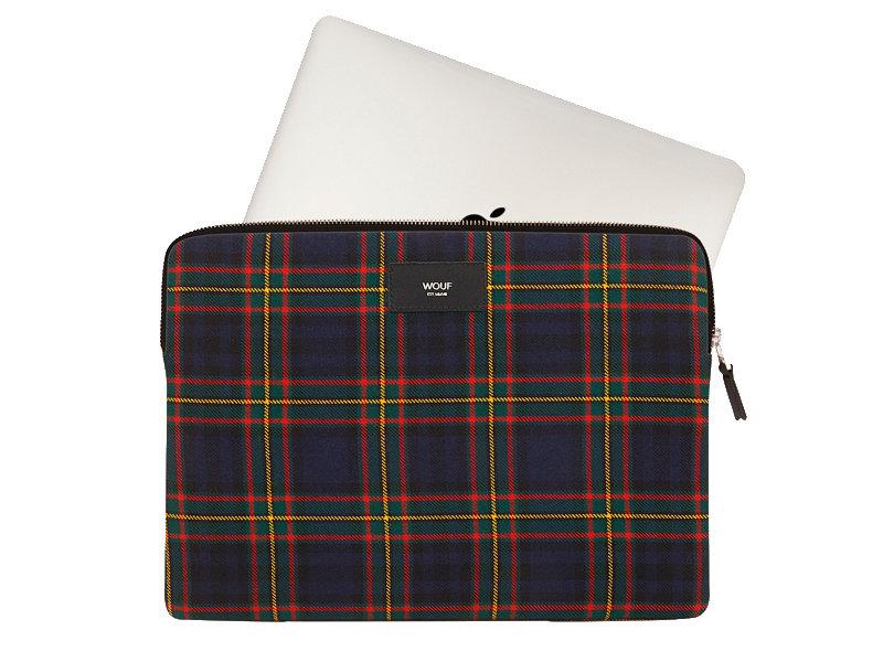 "Wouf Blue Tartan Laptop Sleeve 13"""