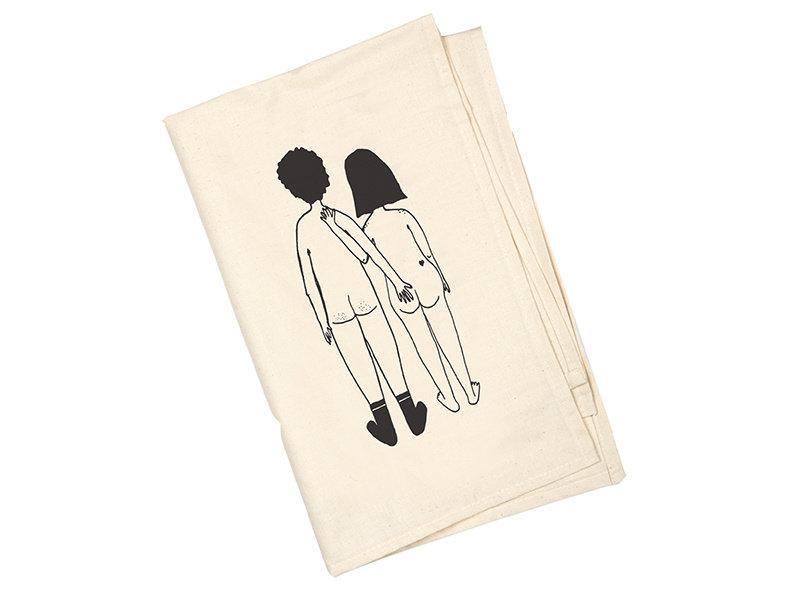 Helen B Tea Towel  Naked Couple Back
