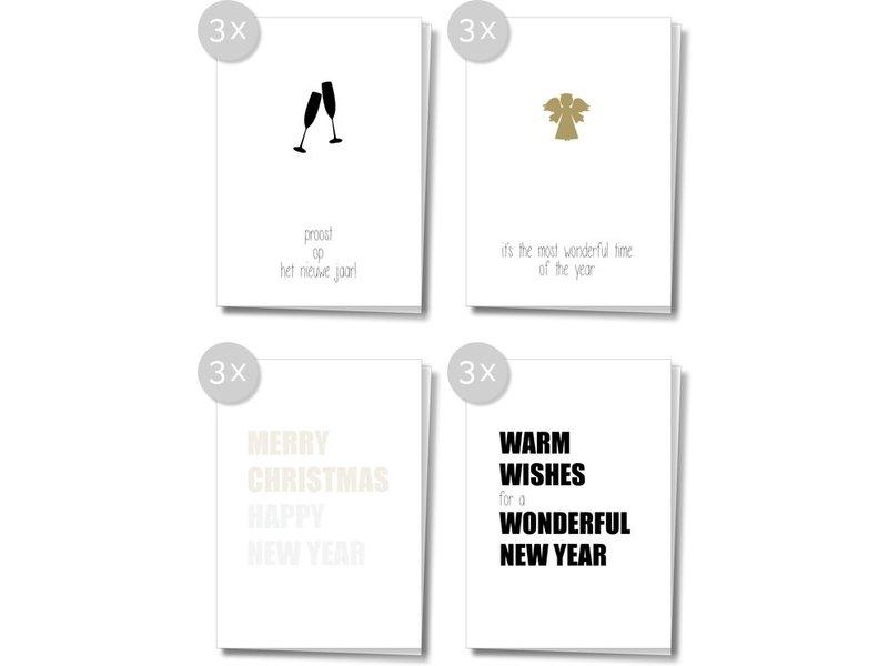 Matriks Dubbele Kerst- en Nieuwjaarskaarten 12 pcs. Set 6
