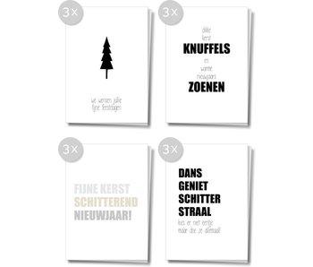 Matriks Dubbele Kerst- en Nieuwjaarskaarten 12 pcs. Set 4