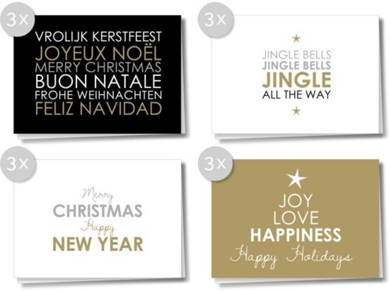 Matriks Dubbele Kerst- en Nieuwjaarskaarten 12 pcs. Set 2