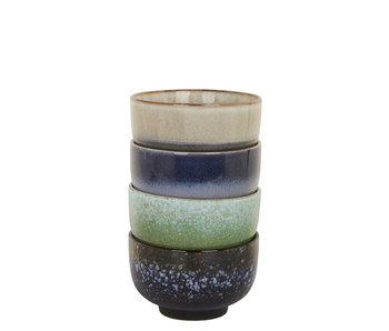 HK Living Ceramic 70's Bowls Blue/Green 4 pcs.