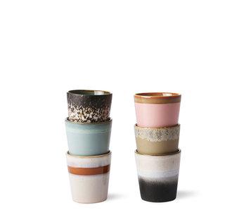 HK Living Ceramic 70's Mugs Multicolor 6 pcs.
