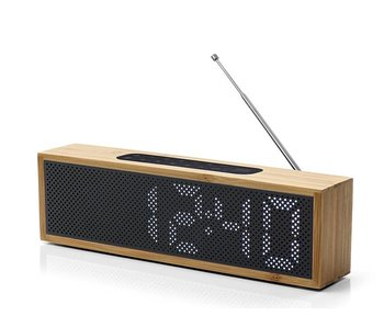 Lexon Titanium Clock Radio Bamboo Black