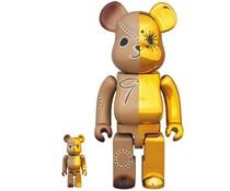 400% & 100% Bearbrick set - Gold & Brown by Mihara Yasuhiro