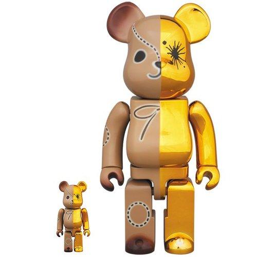 Medicom Toys 400% & 100% Bearbrick set - Gold & Brown by Mihara Yasuhiro