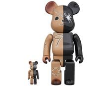 400% & 100% Bearbrick set - Black & Brown by Mihara Yasuhiro