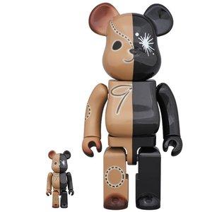 Medicom Toys 400% & 100% Bearbrick set - Black & Brown by Mihara Yasuhiro