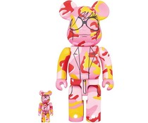 400% & 100% Bearbrick set - Andy Warhol (Pink Camo)