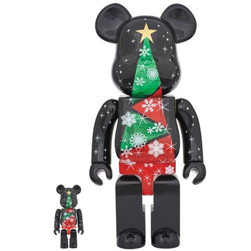 400% & 100% Bearbrick set - Xmas Stained Glass Tree (Christmas 2017)
