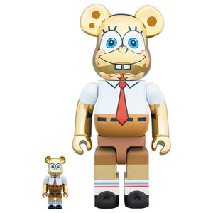 Medicom Toys [PO] 400% & 100% Bearbrick set - Spongebob Squarepants (Gold Chrome)