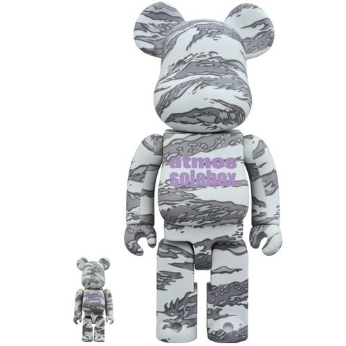Medicom Toys 400% & 100% Bearbrick set - Atmos x Solebox (Grey Camo)