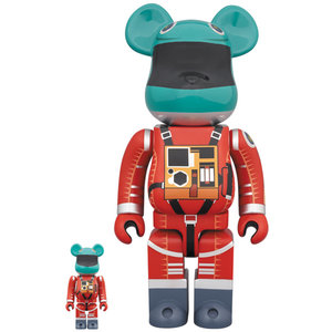 Medicom Toys 400% & 100% Bearbrick set - 2001: A Space Odyssey Space Suit (Green & Orange)
