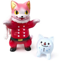 Negora Santa & Cat Daruma Snowman set by Konatsu