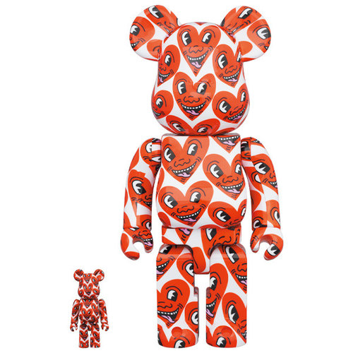 Medicom Toys 400% & 100% Bearbrick set - Keith Haring v6 (Heart Face)