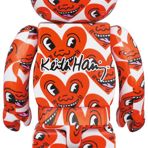 Medicom Toys 400% & 100% Bearbrick set - Keith Haring v6 (Heart Face)