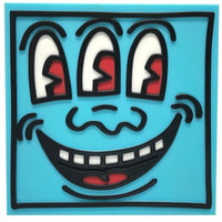 Three-Eyed Smiling Face - Soundqube (Blue) by Keith Haring