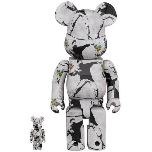 Medicom Toys 400% & 100% Bearbrick Set - Flower Bomber (Banksy)