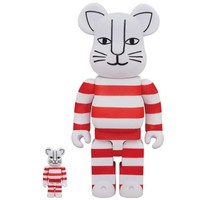 400% Bearbrick - Mikey Cat (Flocked Red) by Lisa Larson