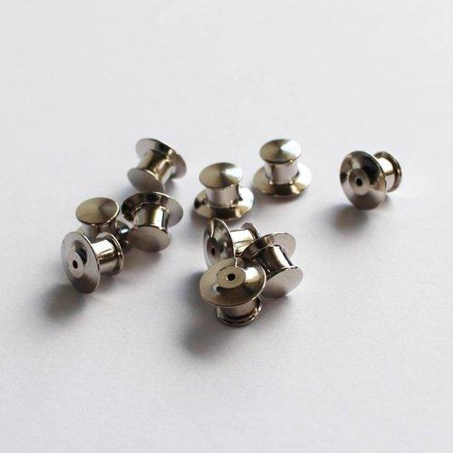 Silver Self-Locking Pin Backs (10-Pack)