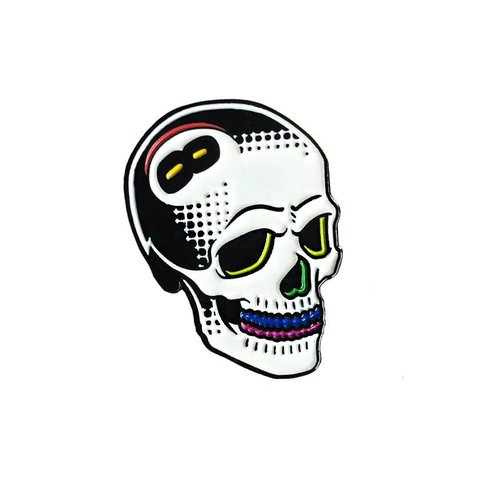 Creamlab 8 Ball Skull Pin (Soft Enamel) by Tizieu