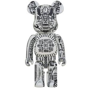 Medicom Toys 1000% Bearbrick - H.R. Giger (White Chrome)
