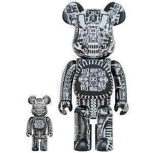 Medicom Toys 400% & 100% Bearbrick set - H.R. Giger (Black Chrome)