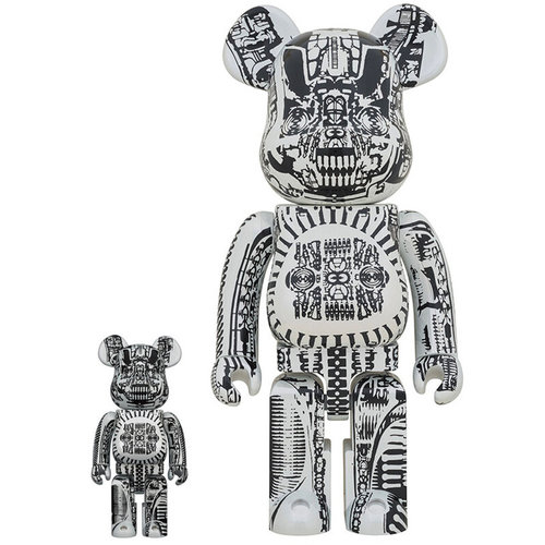 Medicom Toys 400% & 100% Bearbrick set - H.R. Giger (White Chrome)