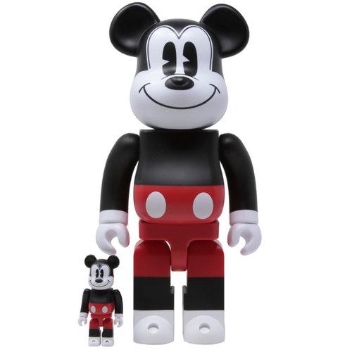 Medicom Toys 400% & 100% Bearbrick Set - Mickey Mouse (R&W 2020)