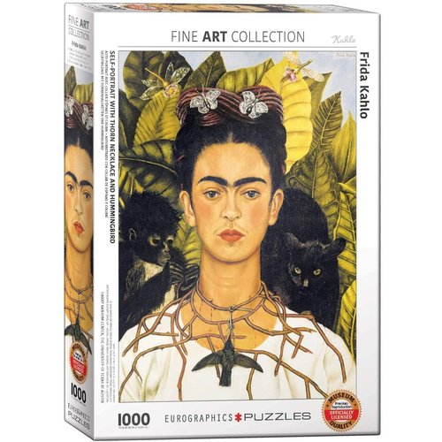 Eurographics Self-Portrait with Thorn Neclace and Hummingbird Puzzle (1000 pcs) by Frida Kahlo